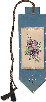 Vintage Handpainted Bookmark Pansy Floral Flowers Blue English Garden Parks Gift