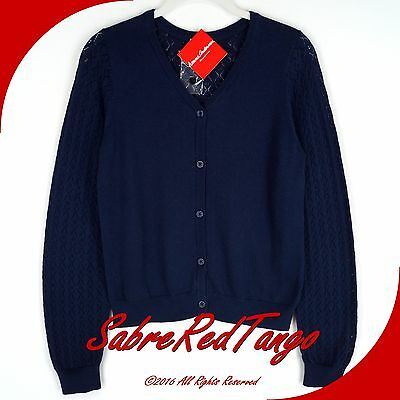 Nwt Hanna Andersson Here To There Button Pointelle Cardigan Navy Blue 150 12