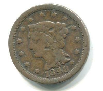 USA. 1848 Braided Hair One Cent Coin. GOOD CONDITION.