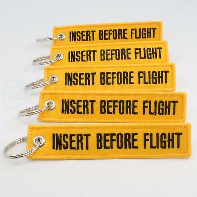 INSERT BEFORE FLIGHT KEYCHAIN QTY= 5 YELLOW/black RING TAGS CABIN CREW PILOT