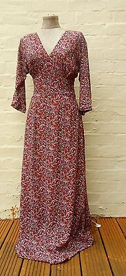 Lovely 1970s retro vintage deco style floral maxi dress gown