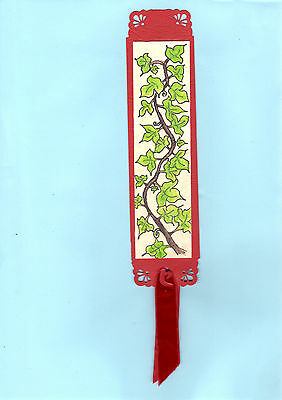 Vintage Handpainted Bookmark Ivy Red Floral Leaves English Garden Parks Gifts