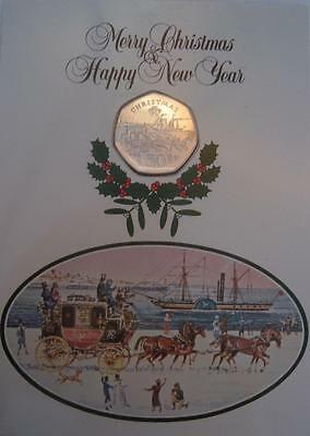 1980 Isle of Man 50p Fifty Pence Coach and Ferry Coin in Christmas Card