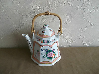 Floral Teapot With Wooden Handle