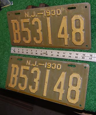 NEW JERSEY - 1930 matched pair of passenger license plate - original condition