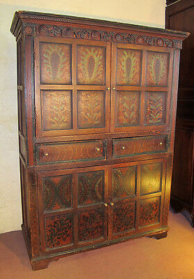 Irish early 19th Century painted Linen press / housekeepers cupboard c 1820