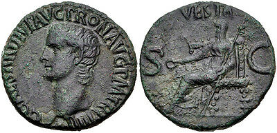 ROME. Gaius (Caligula). AD 37-41. Æ As. (27.5mm, 10.39 g). VF.