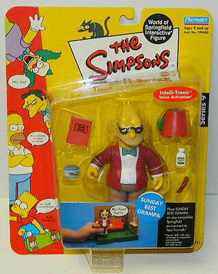 The Simpsons Sunday Best Grampa Action Figure with Voice Playmates 2002  SEALED