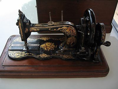 antique VICTORIAN BRADBURY & COMPANY FIDDLE BASE HAND CRANKED SEWING MACHINE BOX