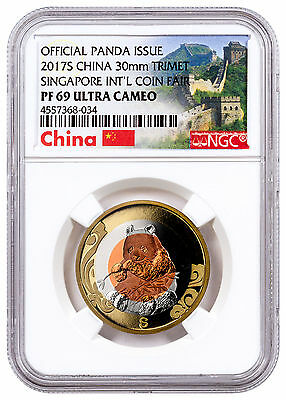 2017-S China Singapore Coin Fair Tri-Metal Panda NGC PF69 UC ER Wall SKU47904