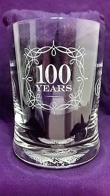 The Famous Grouse 100 Years Etched Whiskey Glass Tumbler Commemorative 1996 See