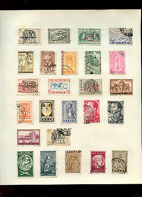 Greece Album Page Of Stamps #V4907