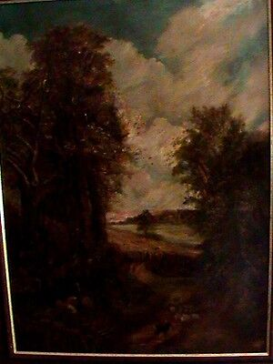 An Antique 19th Century Landscape Oil On Canvas Painting After John Constable.