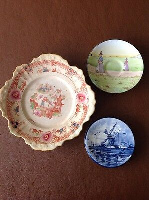 3 Collectible Plates, Royal Doulton, Delft And Antique Riveted