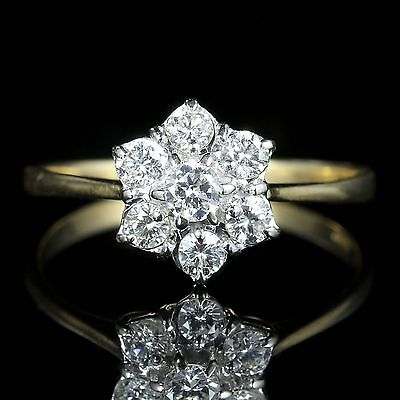 Vintage Diamond Cluster Engagement Ring 18Ct Gold