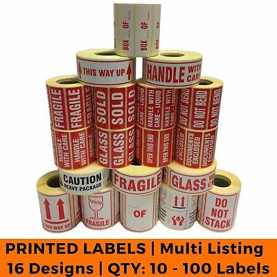 Postage Stickers - Small QTY 10 - 100 Labels - Fragile, Glass, Bend - 16 Designs