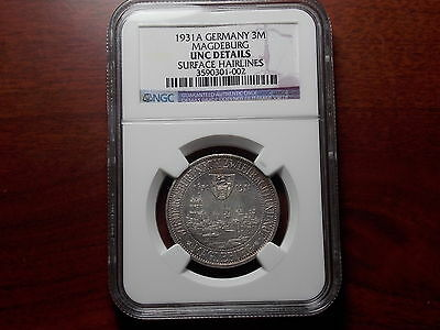 1931 Germany Weimar Republic MAGDEBURG 3 Mark silver coin NGC UNC