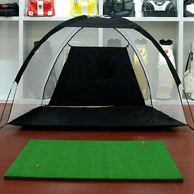XXL Golf Practice Driving Hit Net Cage Training Mat Aid Driver Irons With Bag