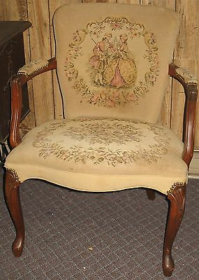 Vintage Antique Shabby Chic Cottage Tapestry Upholstered Side Chair Pick-Up Only