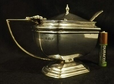 ANTIQUE LARGE ART DECO SOLID STERLING SILVER MUSTARD POT & SPOON 1931 92gr