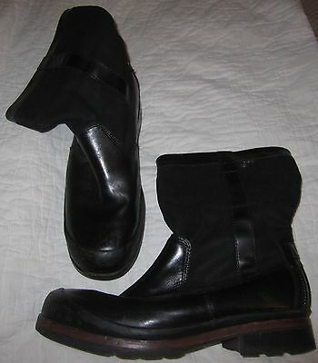 Men's Uggs Ankle Boots - Size 12/12.5 - Black Leather/canvas