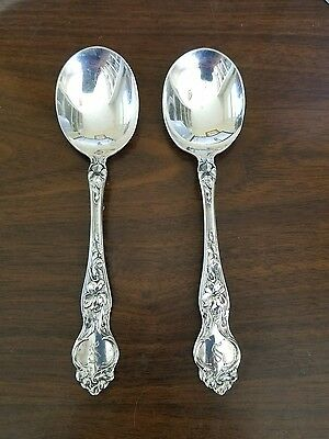 Antique Wallace R.W.&S. Sterling Silver Soup Spoons Violet pattern
