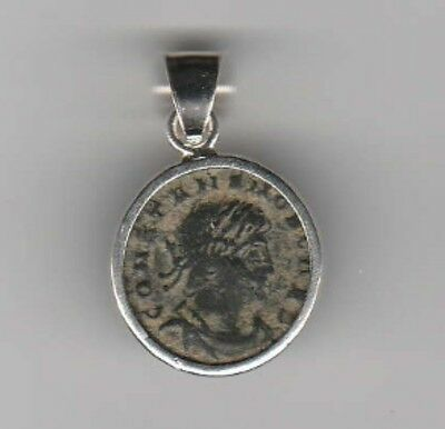 Sterling Silver Ancient Coin Jewelry Pendant Roman Emperor Constans Authentic!