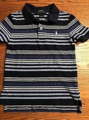Polo, Ralph Lauren Boys Size 5 Blue Striped Short Sleeve Polo Shirt