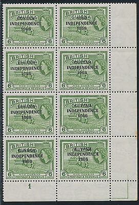"2304 GUYANA 1966 6 C. U/M 8-block OVERPRINT ERROR ""1966 / INDEPEDENCE / 1966"" R!"