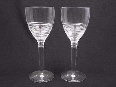 "10"" Pair Of Stuart Crystal Jasper Conran Strata Wine Glasses/goblets"