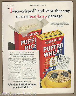 1932 QUAKER OATS advertisement, PUFFED WHEAT, large format, Canadian advert