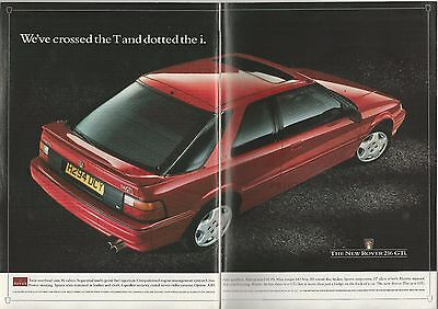 1991 ROVER 216 GTi 2-page advertisement, British advert, Red Rover GTi
