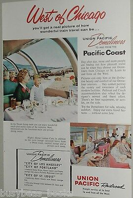1959 Union Pacific advertisement, Domeliner, dining car, West of Chicago, UP RR