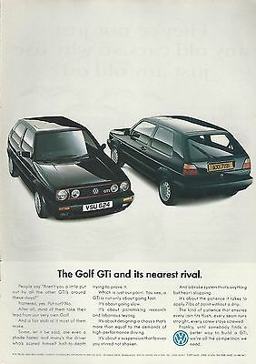 1990 VOLKSWAGEN GOLF advertisement, British advert, VW GOLF GTi