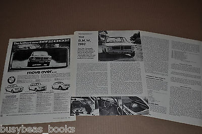 1968 BMW 2002 advertisement, + car review article, from British magazine