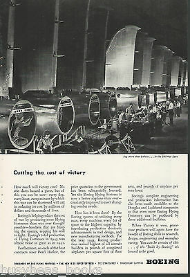 1944 BOEING Aircraft advertisement, Flying Fortress factory floor