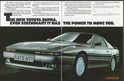1986 TOYOTA SUPRA 2-page advertisement, British advert, silver sports car