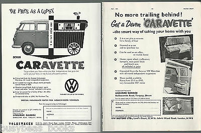 1959-60 VOLKSWAGEN CARAVETTE advertisements x2, British adverts VW Microbus mods