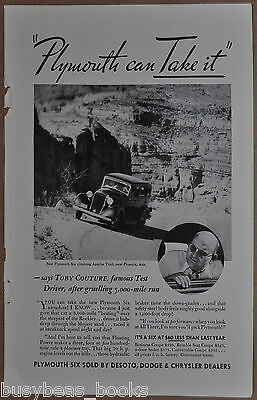 1933 PLYMOUTH SIX advertisement, Plymouth Six Apache Trail Arizona, Toby Couture
