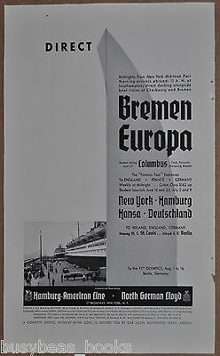 1936 Hamburg American Line, North German Lloyd, Steamships Breman