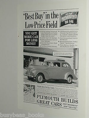 1939 Plymouth ad, Plymouth Deluxe 2-door Touring Sedan
