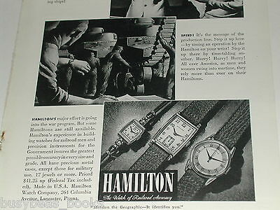 1942 Hamilton Watch advertisement, WWII NAVY navigation, factory process timing