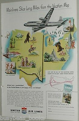 1949 United Air Lines ad, USA vacations, Douglas DC-6