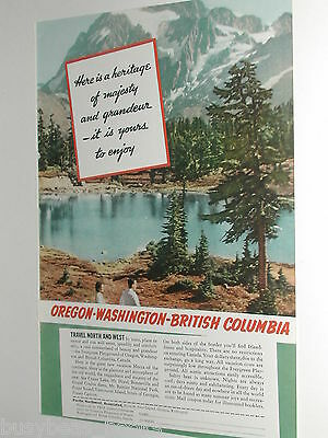 1940 Oregon Washington British Columbia travel ad US NW