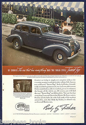 1935 BODY By FISHER advertisement, with 1936 Oldsmobile sedan, turret top