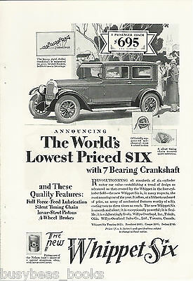 1928 WILLYS WHIPPET advertisement, Willys Overland, 5 passenger coach