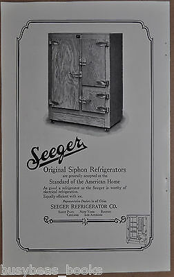 1925 SEEGER Refrigerator advertisement, Icebox, ice or electric