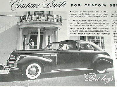 1940 Buick TOWNMASTER advertisement, Buick Townmaster sedan, with chauffeur