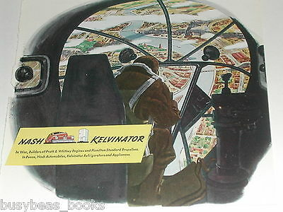 1943 Nash Kelvinator advertisement, WWII bomb aimer in bomber nose, Fortress