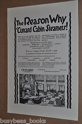 1925 CUNARD advertisement, showing smoking room on the RMS Aurania, ocean liner